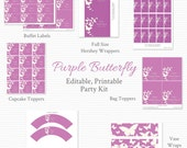 Purple Butterfly Printable Party Kit, Baby Shower, Wedding or Bridal Shower, Party Package, Party Supplies -- Editable, Printable, Instant