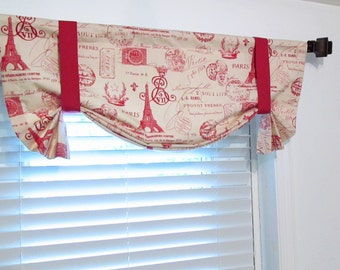 Tie Up  Valance Lined Curtain Paris  Eiffel Tower  French Stamp Primary Red/Natural Custom Sizing Available!
