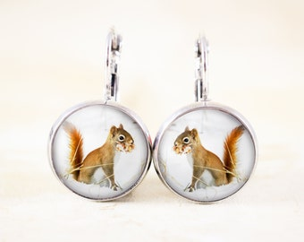 Squirrel Photo Jewelry Earrings - Silver Earrings, Winter Squirrel Animal Jewelry, Red Squirrel Earrings, Silver Squirrel Jewelry, Nature