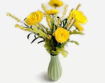 Yellow Floral Arrangement, Faux Arrangement, Ranunculus, Office Decor, Home Decor, Centerpiece, Yellow Decor, Florals