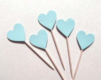 24 Blue Heart Cupcake Toppers, Party Decor, Weddings, Showers, Love, Baby, Boy,  Valentine's Day