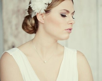 Handmade bridal headband made from thousands of white feathers. White flower headband. Bridal hair accessories flowers.