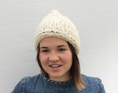Wool Beanie, White Wool Hat, Natural Undyed Chunky Wool Hat in Ecru, Winter Hat, Adults Unisex