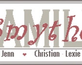 Modern Family Sign Cross Stitch Pattern - Family Sign Personalized with Last Name, Parents and Children/Pets Names