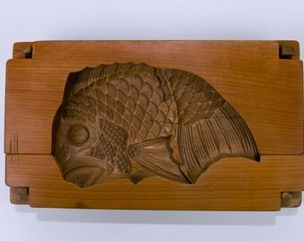Carved 3 Piece Teak Wood Japanese Koi Rice Mold