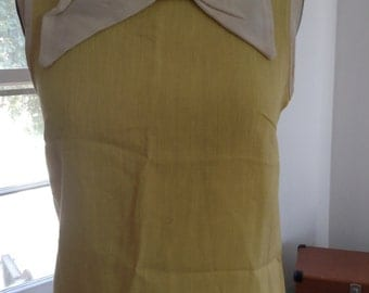SALE !Yellow Linen Mod Top Off White Bow Medium Large