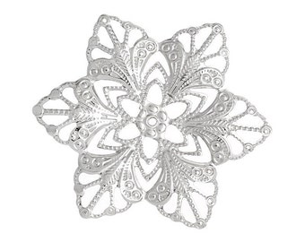 20 Large Antique Silver Filigree FLOWER Shapes, flat thin findings for jewelry making, crafts  FIL0006