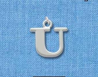 U . Alphabet Letter Monogram, Silver Plated Charm  chs0563