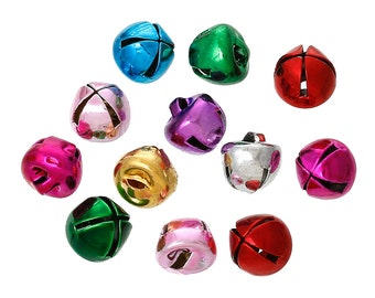 20 Mixed Color Metal JINGLE BELL Charm Pendants, 8x8mm  cho0080