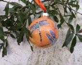 Hand Painted Glass Ornament with Dragonfly peach orange red  background no 161 - ADragonflysFancy