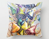 """Throw Pillow / indoor cover 16"""" x 16"""" with pillow insert Wizard Mushrooms"""