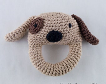Dog Rattle  - PDF Crochet Pattern -  Instant Download - Animal Rattle Crochet Nursery Baby  Shower