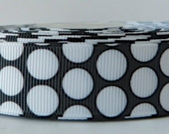 Black 22mm Polka Dot Grosgrain Ribbon