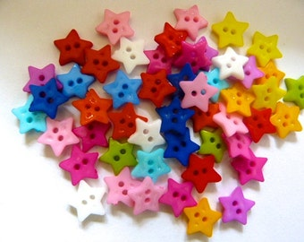 50 x 12mm Star Shaped Buttons