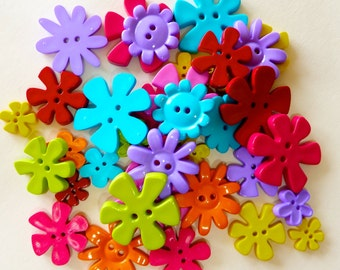 50g Buttons - Flower Shapes - Bright or Pastel Colour