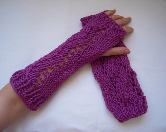 handmade knitted gloves/long fingerless loves/gift idea/only two pairs left purple and green Vogue pattern women accessories by golden yarn