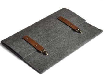 MacBook Pro 13 Bag Case Cover Briefcase grey synthetic felt brown leather straps