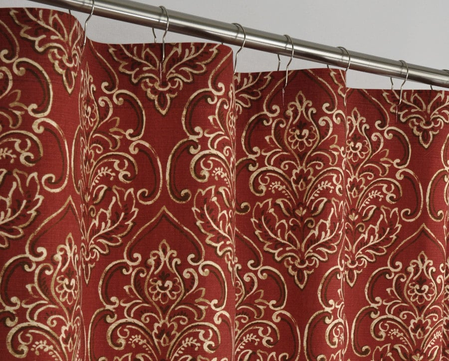 84 LONG Brick Red Damask Shower Curtain 72 x 84 LONG by PondLilly