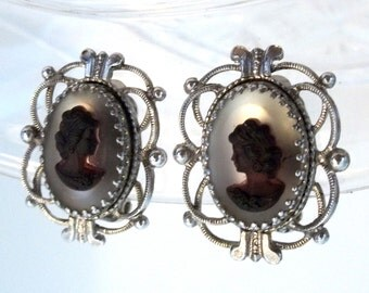 Black Amethyst Glass Cameo Earrings