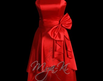 Strapless red A Line knee length formal prom bridesmaid dress/gown (MKP27)