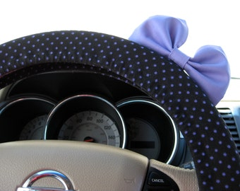 Steering Wheel Cover Bow, Small Black and Lilac Polka Dot Steering Wheel Cover with Lilac Bow BF11131