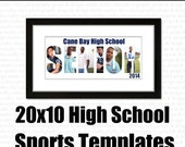 INSTANT DOWNLOAD : High School and Sports 20 x 10 PSD Template Pack // 11 fully layered templates in Pack