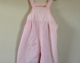 Vintage 1960s Pink Bunny Overalls (9/12 months)