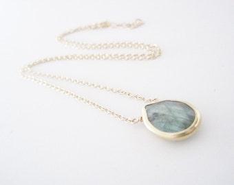 Labradorite Necklace, Gold Vermeil Bezel Rim Labradorite, Green Flash, Natural Gemstone