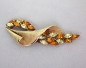 Coro Rhinestone Brooch - Vintage Coro Jewelry - Yellow Rhinestone Pin - Topaz Rhinestone - Coro Jewelry