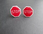 STOP Sign Stud Earrings, Comical Stud earrings, Silly Funny