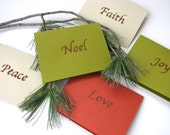 Set of 5 Christmas cards - Scented with spices- rustic cards