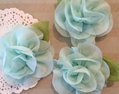 "Mint mini Camellia Flower with leaf (3 pcs) - Small 2.5""  Mint Fabric flower flower embellishment  headband flower applique accent flower"