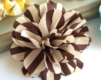 Set of 2 Vintage Brown Stripe flower 4.5'' large silk Brown and Tan stripe fabric flower  flat back Dahlia - headband flowers wholesale
