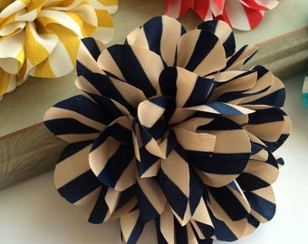 Set of 2 Vintage Navy Stripe flower 4.5'' large silk Navy and Tan stripe fabric flower  flat back Dahlia - headband flowers wholesale