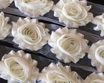 "Ivory Shabby Rose Trim 2.5"" Shabby Flowers Shabby Chiffon Flowers - Solid Shabby Chic Trim Wholesale Rosette trim 6cm 1 yard - Ivory #106"