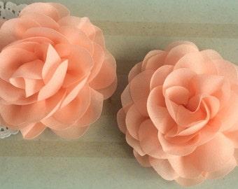 "Peach Soft Petal Rose Flowers ( 2 pieces) 3"" Chiffon flower Wholesale Flowers Headband Flowers Chiffon Fabric Sara Flower embellishment"