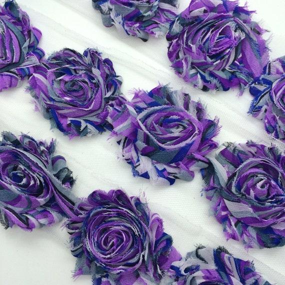 "Purple Rainbow Shabby Rose Trim 2.5"" Shabby Flowers Shabby Chiffon Flowers - Printed Shabby Chic Trim Wholesale Rosette trim 6cm 1 yard"