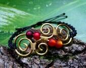 Hippie Bracelet New Zealand Koru - Aotearoa - BRASS ORANGE RED Gypsy Goa Style - adjustable in size - Spiral Maori Ornaments Macrame