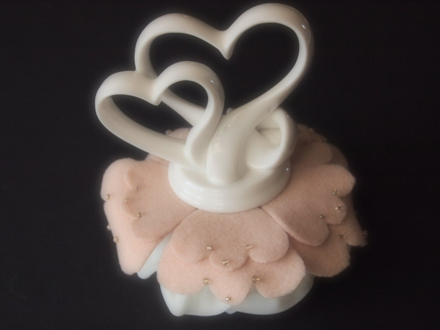 Cake Topper Wedding Hearts Pale Blush Peach White Ivory