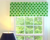 Green Window Valance - Window Valance - 52 x 16 Valance - Window Treatment - Gotcha Green Window Valance with Ruffled Top