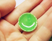 1 pc round green plate dollhouse miniature food supply deco