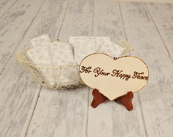 "Rustic ""For Your Happy Tears"" Tissues Sign WITH Easel"