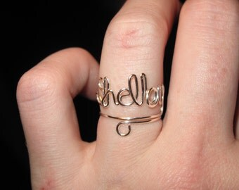Wire Wrapped Name Adjustable MADE to ORDER Ring