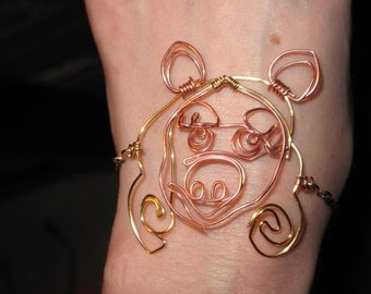 Wire Wrapped Miss Piggy Chain Bracelet MADE to Order