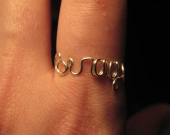 Wire Wrapped COURAGE Spelled Ring MADE to Order