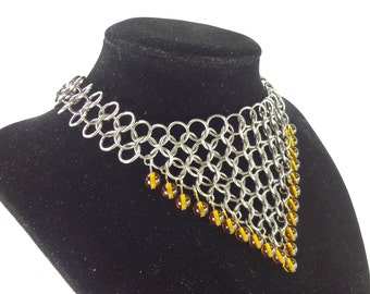 Renaissance Necklace Chainmaille With Amber Glass Beads