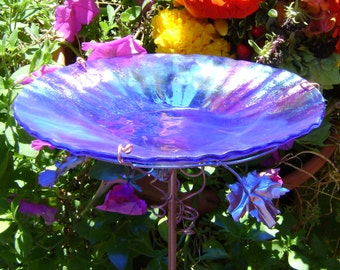 "3rd WEDDING ANNIVERSARY Gift, Iridescent, BIRDBATH, 8.25"" diameter, Home Decor, copper, Cobalt Blue, stained glass, Garden Stake"