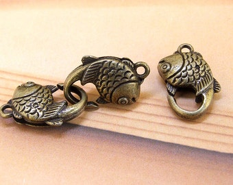 5Claps Large Double Fishes Antiqued Brass Clasp 20mmx 10mm Charm Strong  Bronze Brass Clasps Jewelry Filigree Link Findings