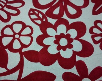 Red thick-line floral,  1/2 yard, pure cotton fabric