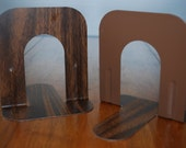 Vintage Pair of Small Walnut Faux Bois - Retro -  Industrial Metal Bookends